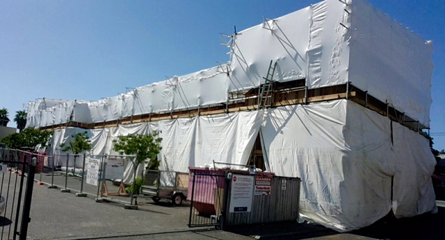 Construction site shrink wrap